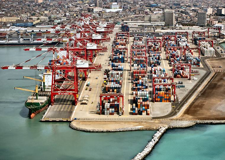 Aerial shot of the Port of Callao, Lima, Peru.