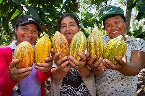 Peruvian women proudly showing off their cacao pods